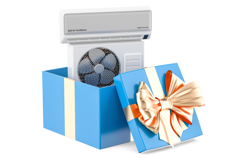 Gift concept air conditioner inside gift box. 3D rendering